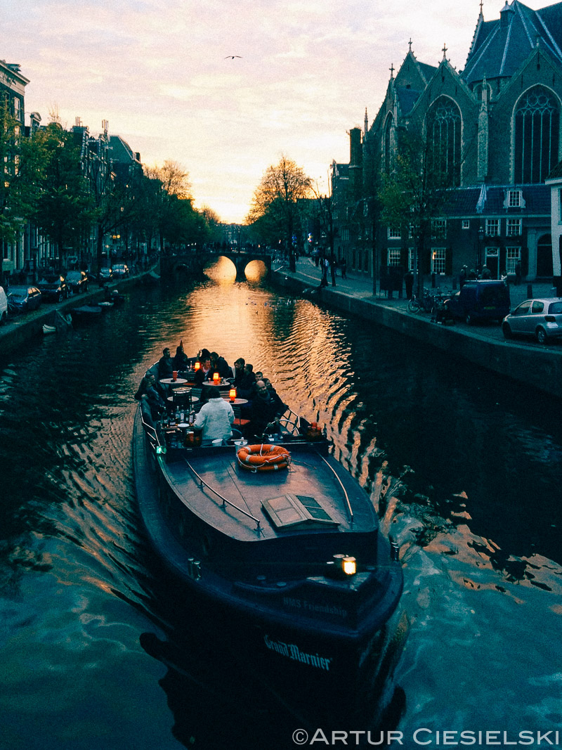 A tourist boat on one of the canals.